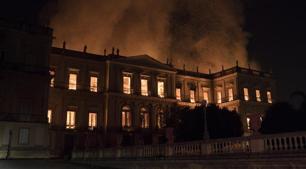 Flames engulf the 200-year-old National Museum of Brazil, in Rio de Janeiro (Leo Correa/AP)