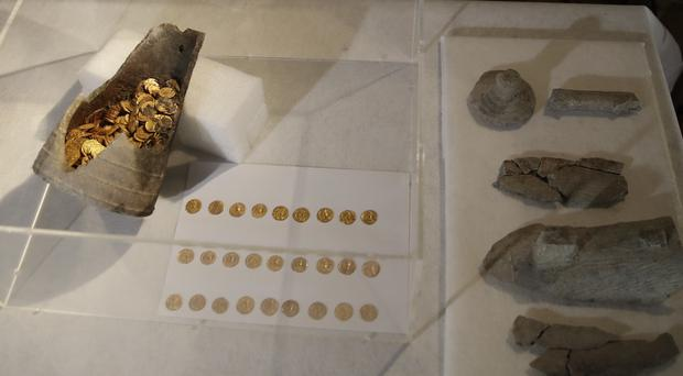 The coins were kept in a soapstone vessel of uncommon shape (AP)