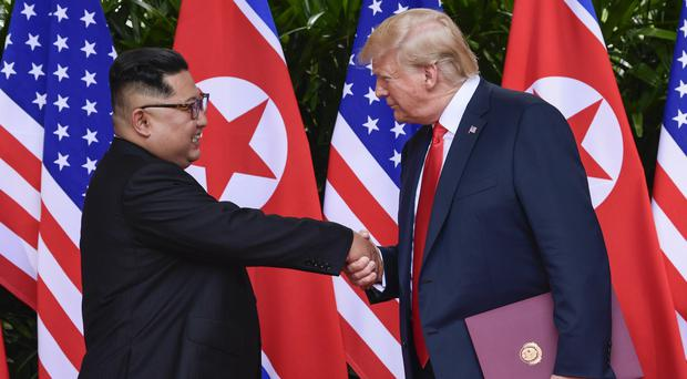 Kim Jong Un and Donald Trump at their talks in June. (AP Photo/Susan Walsh, Pool)