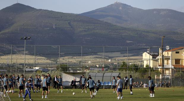 Chelsea players practice during a training session in Souroti village, near Thessaloniki (AP)