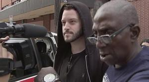 Cody Wilson (left) walks out of the Harris County Jail in Houston (KTRK-TV/AP)