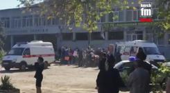 Emergency services at the scene (Kerch FM News via AP)