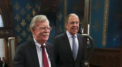 U.S. National Security Adviser John Bolton and Russian Foreign Minister Sergey Lavrov (AP)