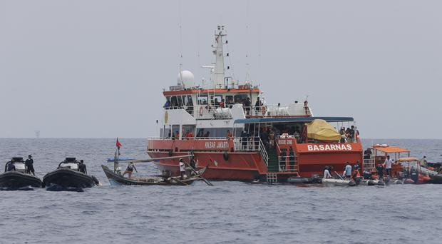Rescuers conduct a search operation for the victims of the crashed Lion Air plane (Tatan Syuflana/AP)