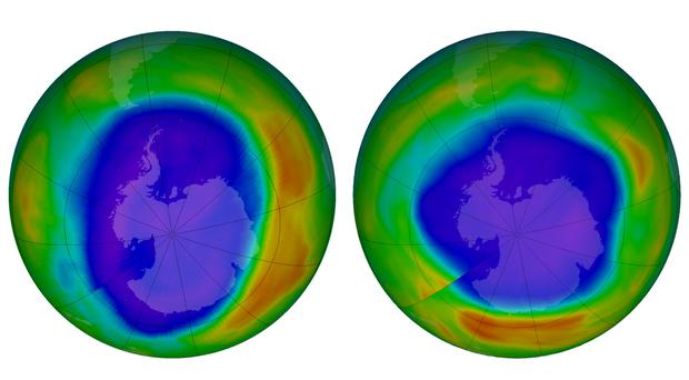 Areas of low ozone above Antarctica (NASA via AP)