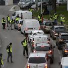 Demonstrators block a motorway exit (AP Photo/Claude Paris)