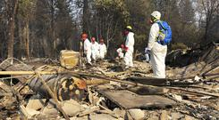 Volunteer members of an El Dorado County search and rescue team look for human remains (Sudhin Thanawala/AP)