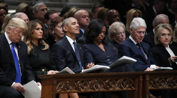 Donald Trump, Melania Trump, Barack Obama, Michelle Obama, Bill Clinton and Hillary Clinton at the state funeral for former president George HW Bush (Alex Brandon, Pool/AP)