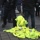 Yellow vests during a demonstration in Brussels (Francisco Seco/AP)