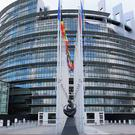 A view of the European Parliament site in Strasbourg, France which is in lockdown after a shooting (PA)