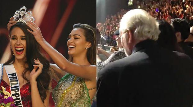 The Philippines' Catriona Gray is crowned the new Miss Universe 2018 in Bangkok as her parents watch on – (Gemunu Amarasinghe/AP and @MikeInCambodia/Twitter)