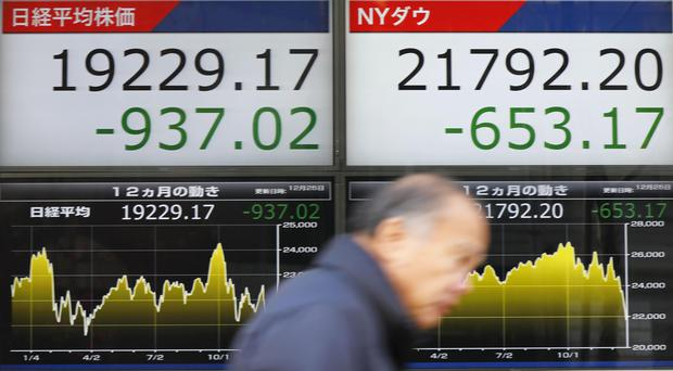 The day's losses on the Nikkei stock index, left, and the Dow Jones Industrial Average (Yohei Fukai/Kyodo News via AP)