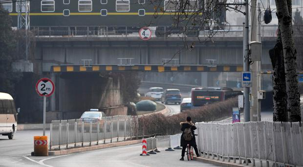 The train used by North Korean leader Kim Jong-un departs from Beijing yesterday