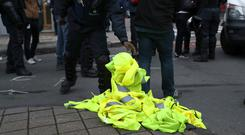 A yellow vest protest is taking place in Belfast. (Francisco Seco/AP)