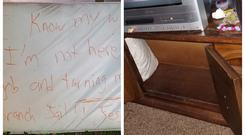 The note on a mattress, left, and the dresser in which the fugitive was found hiding (Flagler County Sheriff's Office/PA)