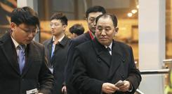 North Korean official Kim Yong Chol is expected to meet Mike Pompeo on Friday (Kyodo News via AP)
