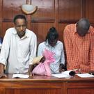 From left to right, suspects Osman Ibrahim, Guleid Abdihakim, Gladys Kaari Justus, Oliver Kanyango Muthee and Joel Nganga Wainaina appear at a hearing at Milimani law courts in Nairobi, Kenya (AP)