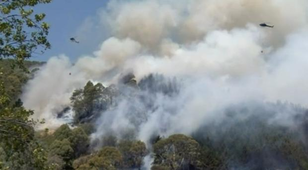 Helicopters drop water on a wildfire in Wakefield, New Zealand (Newshub via AP)