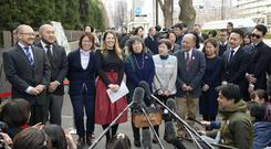 Couples speak to journalists before they file lawsuits challenging the constitutionality of Japan's rejection of same-sex marriage (Chika Ohshima/Kyodo News via AP)