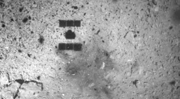 The shadow of the Hayabusa2 spacecraft after its successful touchdown on the asteroid Ryugu (JAXA via AP)