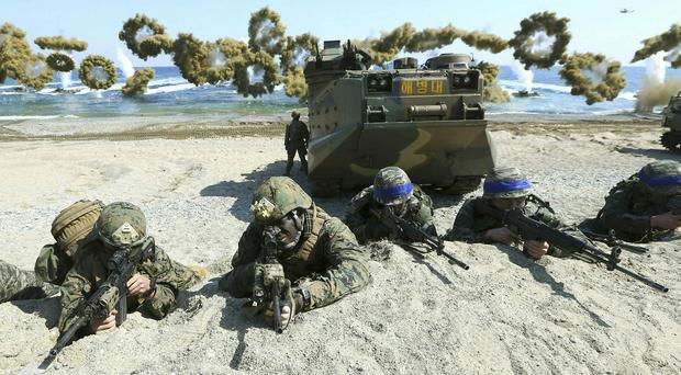 Marines of the US and South Korea during a joint military combined exercise in Pohang, South Korea (Kim Jun-bum/Yonhap/AP/File)