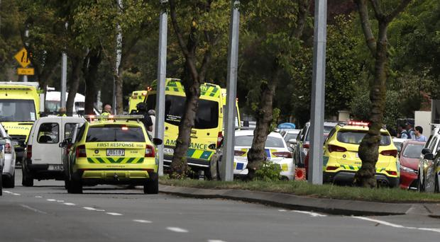 Ambulances parked outside a mosque in central Christchurch, New Zealand (Matt Baker/PA)