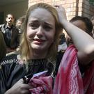 Czech model Tereza Hluskova after appearing in court in Lahore, Pakistan (KM Chaudary/AP)