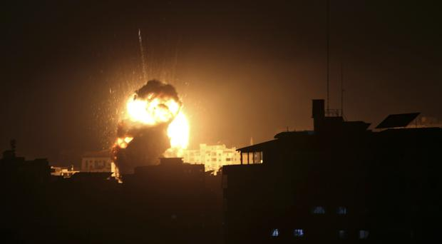 An explosion caused by Israeli airstrikes (AP Photo/Adel Hana)