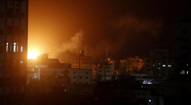 An explosion caused by Israeli airstrikes (Adel Hana/AP)