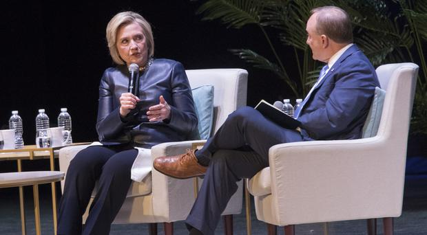 Hillary Clinton speaks during An Evening With The Clintons at the Beacon Theatre in New York (Mary Altaffer/AP))