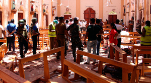 The aftermath of the bomb at St Sebastian's church