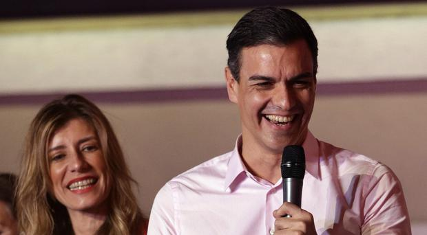 Spanish prime minister and Socialist Party candidate Pedro Sanchez speaks to supporters (AP Photo/Andrea Comas)