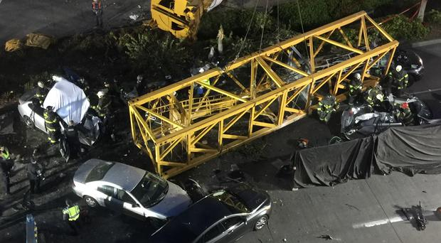 The construction crane fell from a building on Google's new Seattle campus (AP)