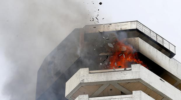 Fire at the Pacific Coastal Plaza in Paranaque, south of Manila (Bullit Marquez/AP)