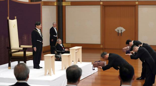 Japan's new Emperor Naruhito at the ceremony at Imperial Palace in Tokyo (Japan Pool/AP)
