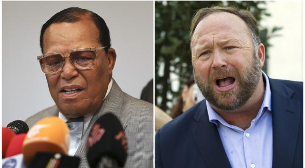 Louis Farrakhan, the leader of the Nation of Islam, and Alex Jones have been banned from Facebook (AP)