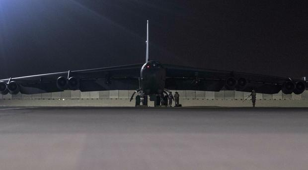 A B-52H Stratofortress assigned to the 20th Expeditionary Bomb Squadron is parked on the ramp at Al Udeid Air Base (Senior Airman Keifer Bowes, US Air Force/AP)