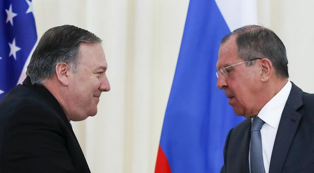 US secretary of state Mike Pompeo, left, meets Russian foreign minister Sergey Lavrov (AP Photo/Pavel Golovkin, Pool)