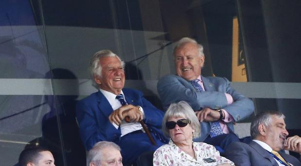 Former Australian prime minister Bob Hawke, left, at an Ashes Test at the Sydney Cricket Ground.