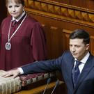 Volodymyr Zelenskiy swears on the Bible (Efrem Lukatsky/AP)