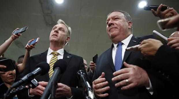 Patrick Shanahan and Mike Pompeo after the classified briefing for members of US Congress on Iran (Patrick Semansky/AP)