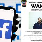 The Facebook logo and the wanted poster (Dominic Lipinski/PA and City of Torrington Police/Facebook/PA)