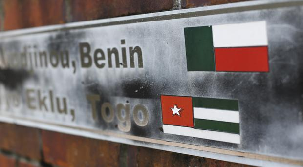 The flags of the nations of Benin and Togo, the west African homes of the survivors of Clotilda (AP Photo/Julie Bennett, File)