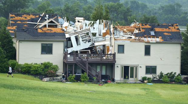 A home destroyed by a tornado south of Lawrence, Kansas (Chris Neal/The Topeka Capital-Journal/AP)