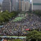Protesters gather at Victoria Peak to protest against the extradition bill in Hong Kong (Apple Daily via AP)