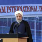 Iranian President Hassan Rouhani speaks at a ceremony at Imam Khomeini International Airport (Iranian Presidency Office via AP)