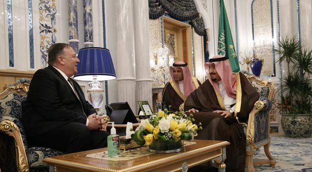 US secretary of state Mike Pompeo, left, meets with King Salman, right, at Al Salam Palace (Jacquelyn Martin/AP)