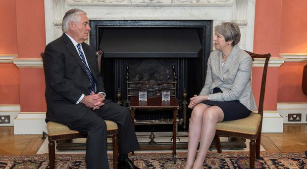 Prime Minister Theresa May meeting then US secretary of state Rex Tillerson (10 Downing Street/PA)