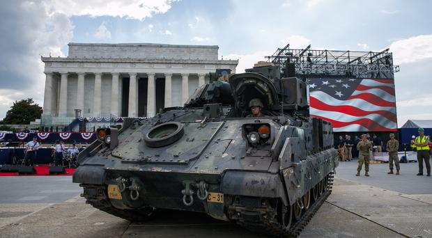 A Bradley Fighting Vehicle is driven into place by the Lincoln Memorial ahead of July 4 celebrations (Jacquelyn Martin/AP)