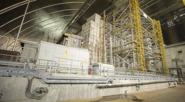 "A view inside the ""new safe confinement"" shelter (Ukrainian Presidential Press Office/AP)"